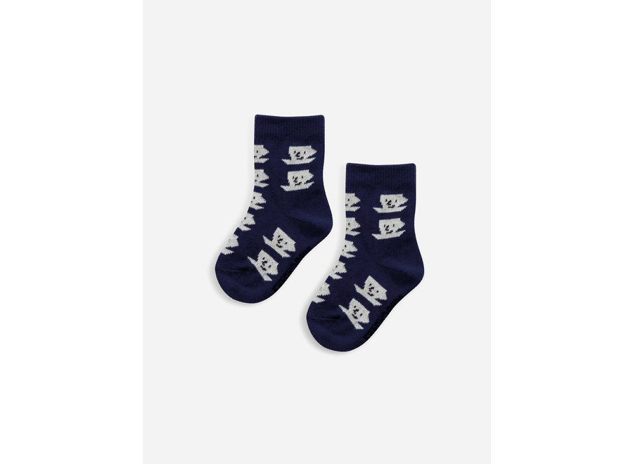 Blue Cup Of Tea All Over baby socks Royal Blue