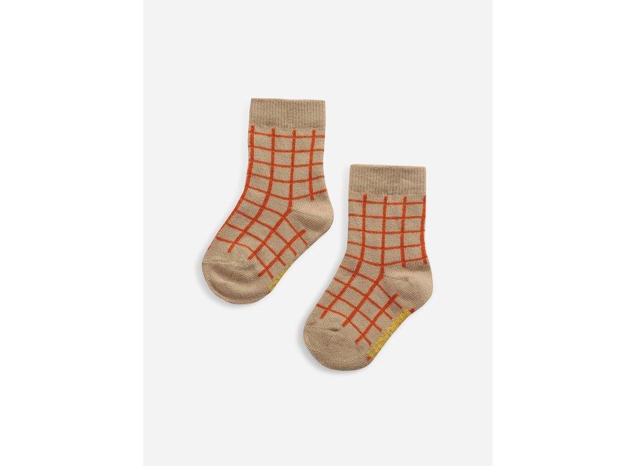 Checkered baby socks Soybean