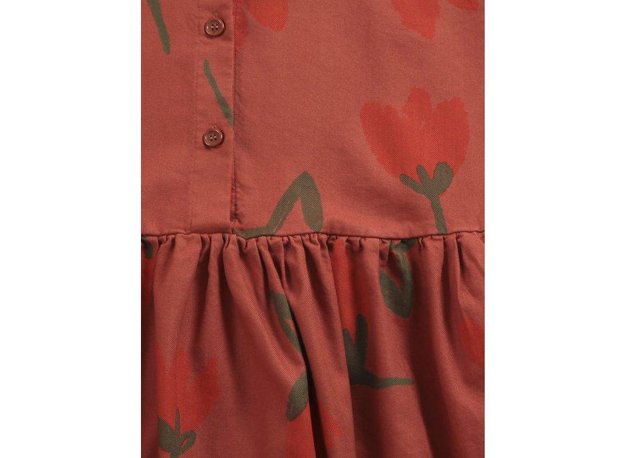 Big Flowers woven buttoned dress Tandoori Spice