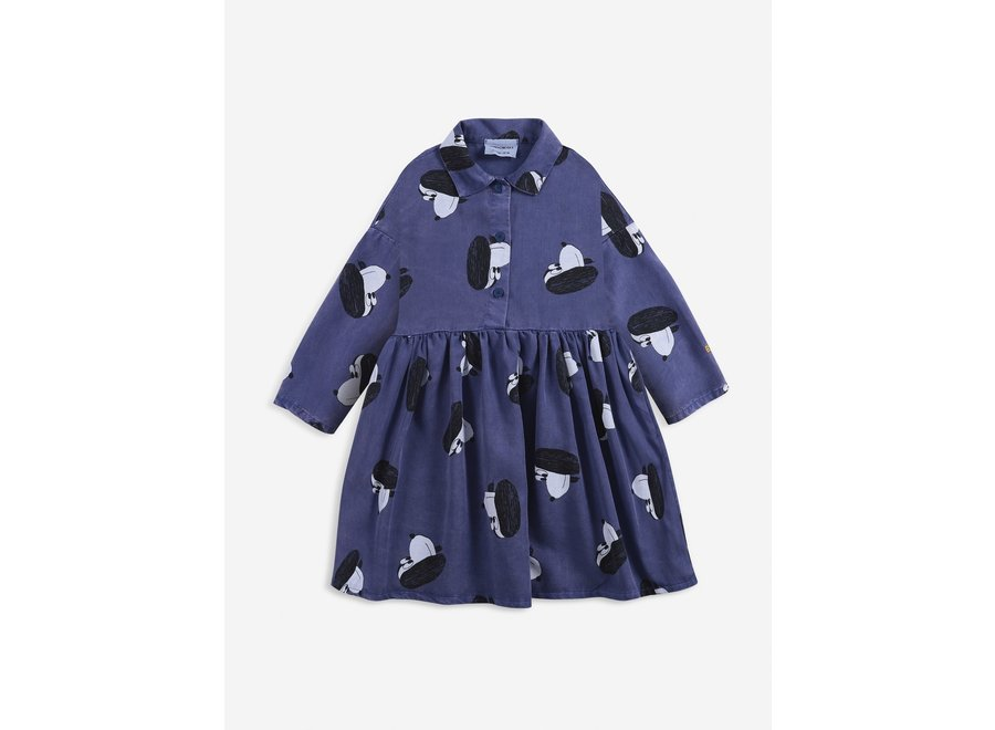 Doggie All Over woven buttoned dress Royal Blue