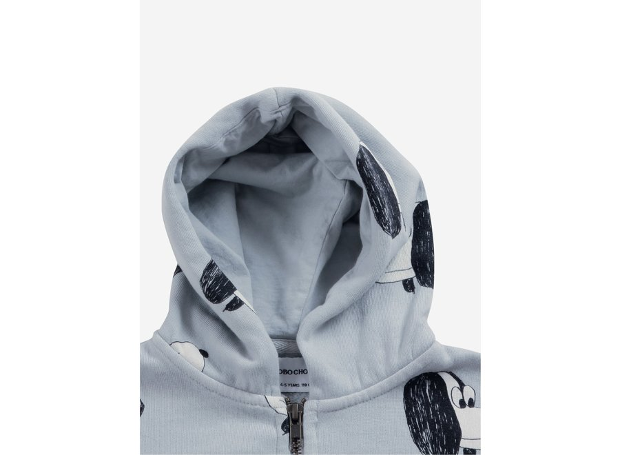 Doggie All Over zipped hoodie Gray Violet