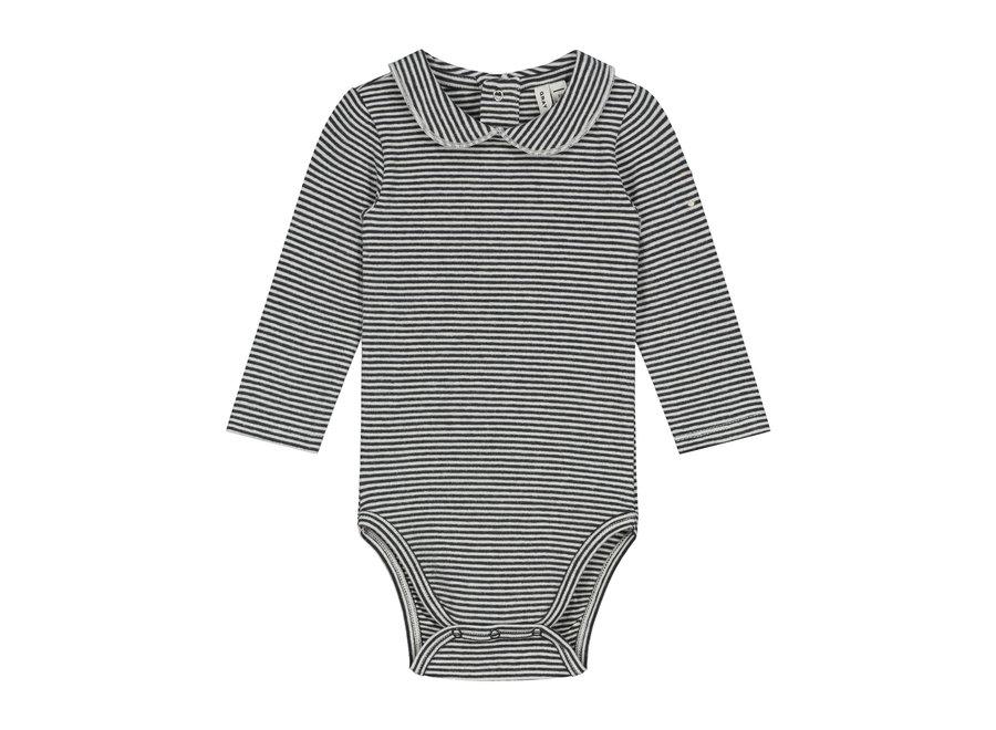 Baby Collar Onesie GOTS Nearly Black/Cream