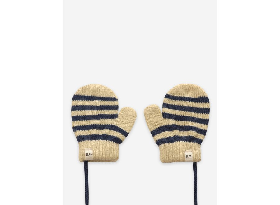 Black Stripes knitted mittens Twilight Blue - Baby