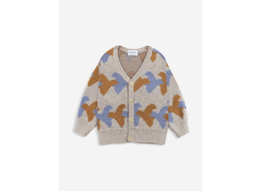 Birds All Over knitted cardigan Porpoise