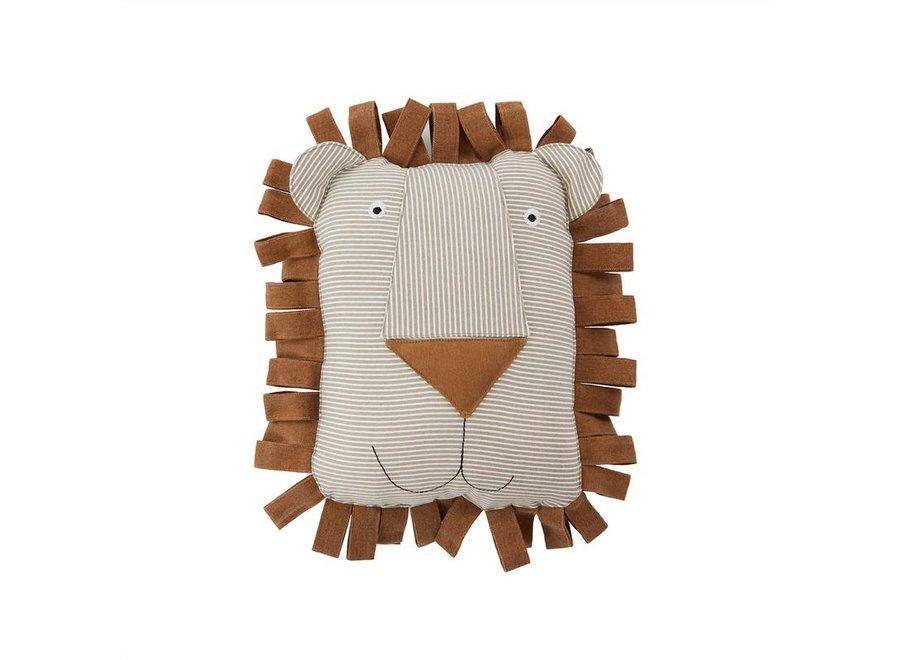 Lobo Lion Denim Cushion - Caramel