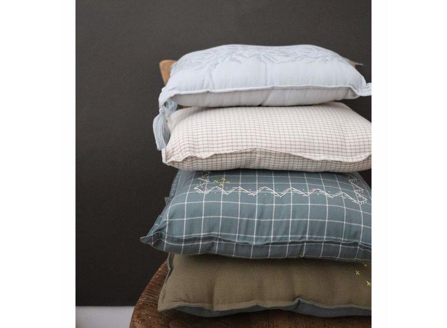 Camomile Padded Cushion - Khaki and Blue Grey