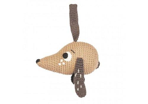 Sebra Crochet musical pull toy, dog