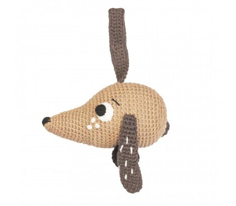 Crochet musical pull toy, dog