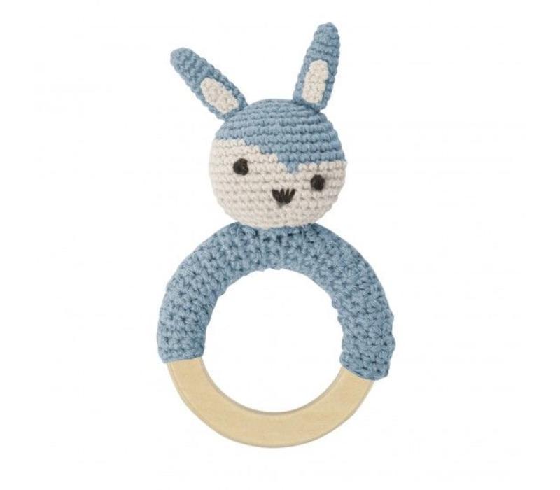 Crochet rattle, rabbit on ring, cloud blue