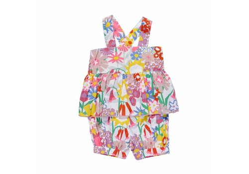 Stella McCartney Kids Elodie, Woven Onesie/ All In One Collage Floral on Coconut Base