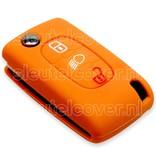 Peugeot SleutelCover - Oranje / Silicone sleutelhoesje / beschermhoesje autosleutel