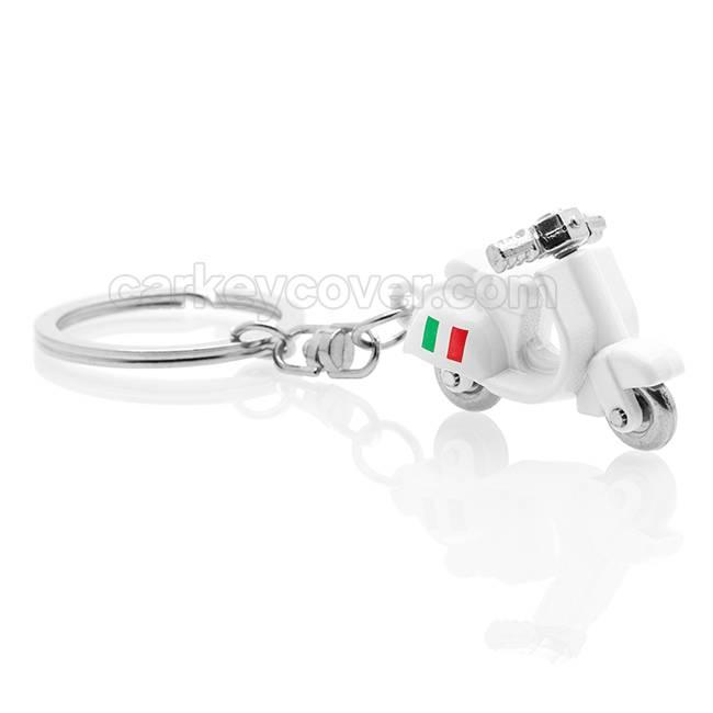 Sleutelhanger - Scooter - Vespa Italia - Wit / Silicone sleutelhoesje / beschermhoesje autosleutel
