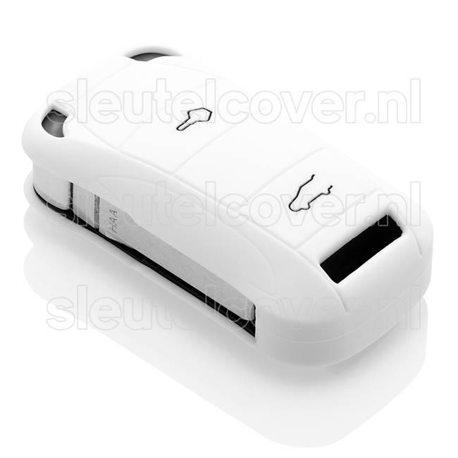 Porsche SleutelCover - Wit / Silicone sleutelhoesje / beschermhoesje autosleutel