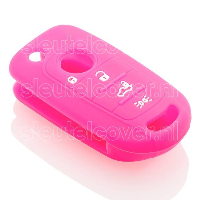 Fiat SleutelCover - Fluor Roze / Silicone sleutelhoesje / beschermhoesje autosleutel