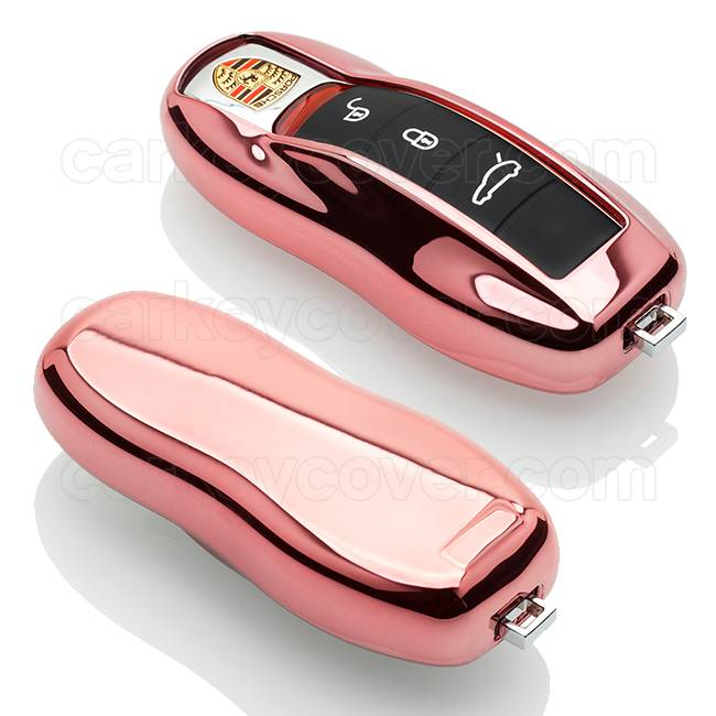 Porsche SleutelCover - Rose Goud / TPU sleutelhoesje / beschermhoesje autosleutel