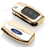 Ford SleutelCover - Goud / TPU sleutelhoesje / beschermhoesje autosleutel