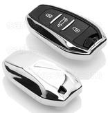 Peugeot SleutelCover - Chroom / TPU sleutelhoesje / beschermhoesje autosleutel