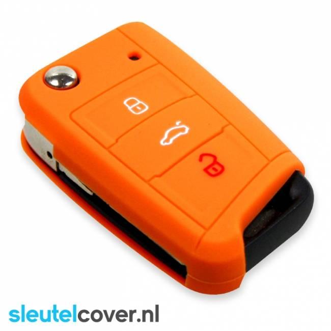 Skoda SleutelCover - Oranje / Silicone sleutelhoesje / beschermhoesje autosleutel