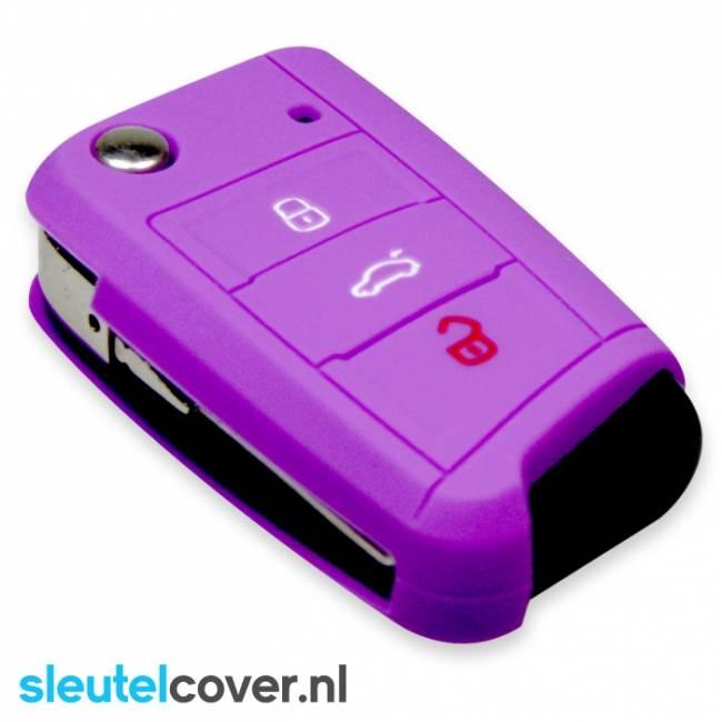 Skoda SleutelCover - Paars / Silicone sleutelhoesje / beschermhoesje autosleutel
