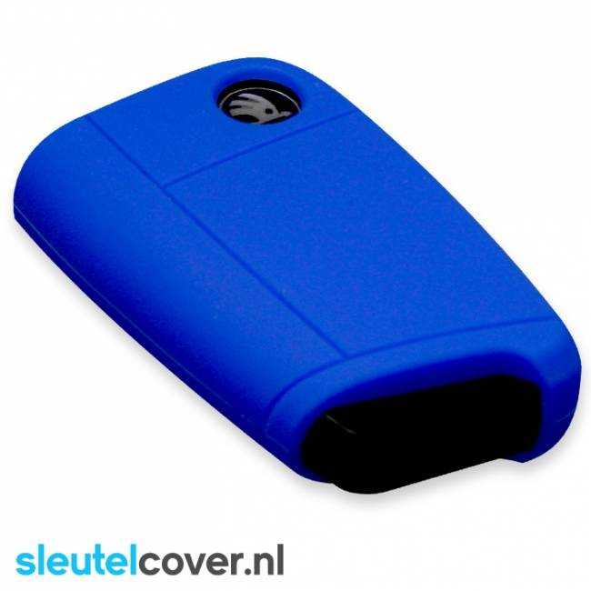 Skoda SleutelCover - Donker Blauw / Silicone sleutelhoesje / beschermhoesje autosleutel