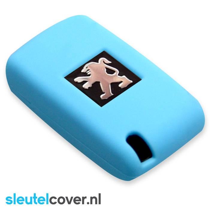 Peugeot SleutelCover - Lichtblauw / Silicone sleutelhoesje / beschermhoesje autosleutel