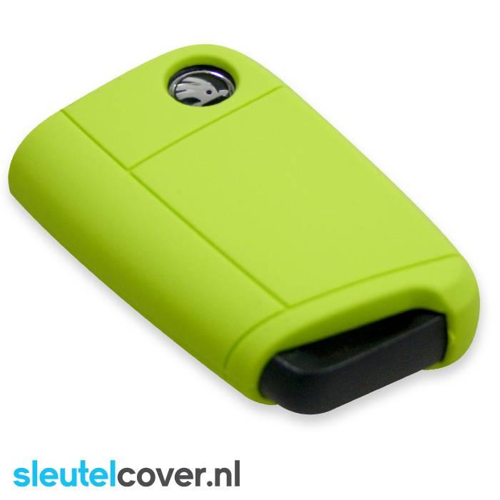 Skoda SleutelCover - Lime groen / Silicone sleutelhoesje / beschermhoesje autosleutel