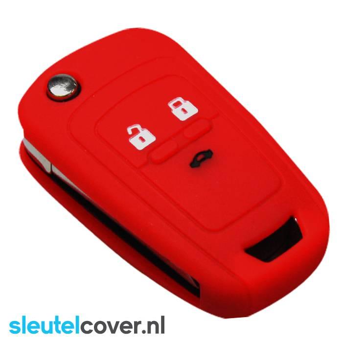 Chevrolet SleutelCover - Rood / Siliconen sleutel hoesje / beschermhoesje autosleutel / Geschikt voor Chevrolet Cruze, Chevrolet Camaro, Chevrolet Equinox, Chevrolet Malibu, Chevrolet Malibu, Chevrolet Sonic, Chevrolet Spark, Chevrolet Volt