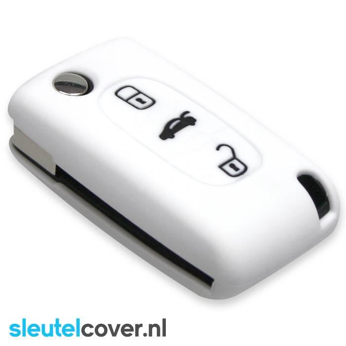Peugeot SleutelCover - Wit / Silicone sleutelhoesje / beschermhoesje autosleutel