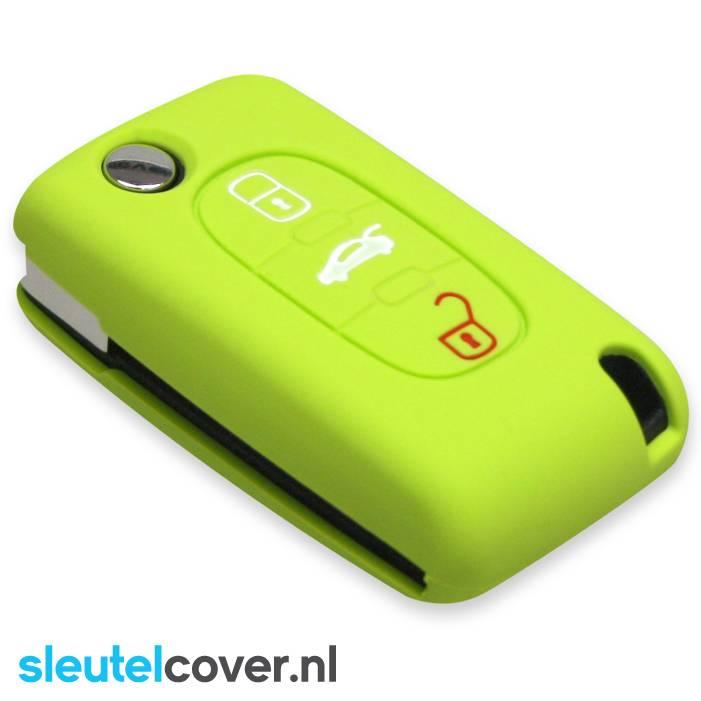Citroën SleutelCover - Lime groen / Silicone sleutelhoesje / beschermhoesje autosleutel