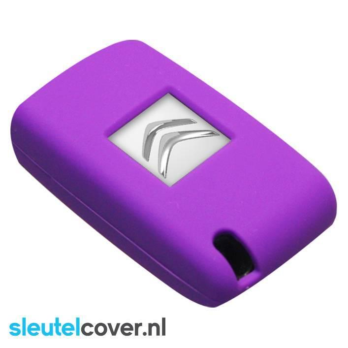 Citroën SleutelCover - Paars / Silicone sleutelhoesje / beschermhoesje autosleutel