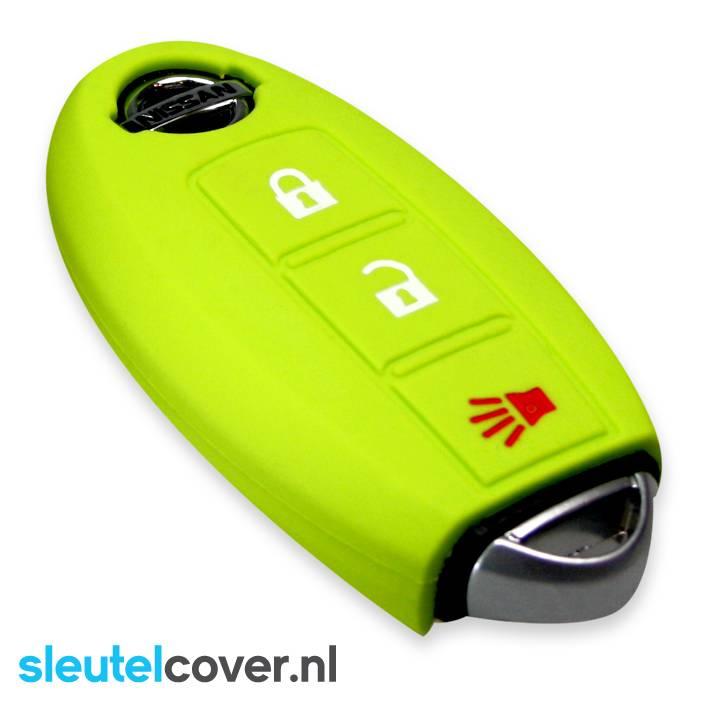 Nissan SleutelCover - Lime groen / Silicone sleutelhoesje / beschermhoesje autosleutel