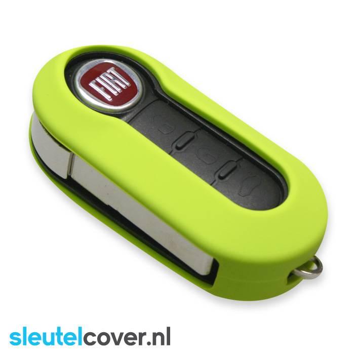 Fiat SleutelCover - Lime / Siliconen sleutel hoesje / beschermhoesje autosleutel / Geschikt voor Fiat Punto, Fiat Ducato, Fiat 500, Fiat Panda