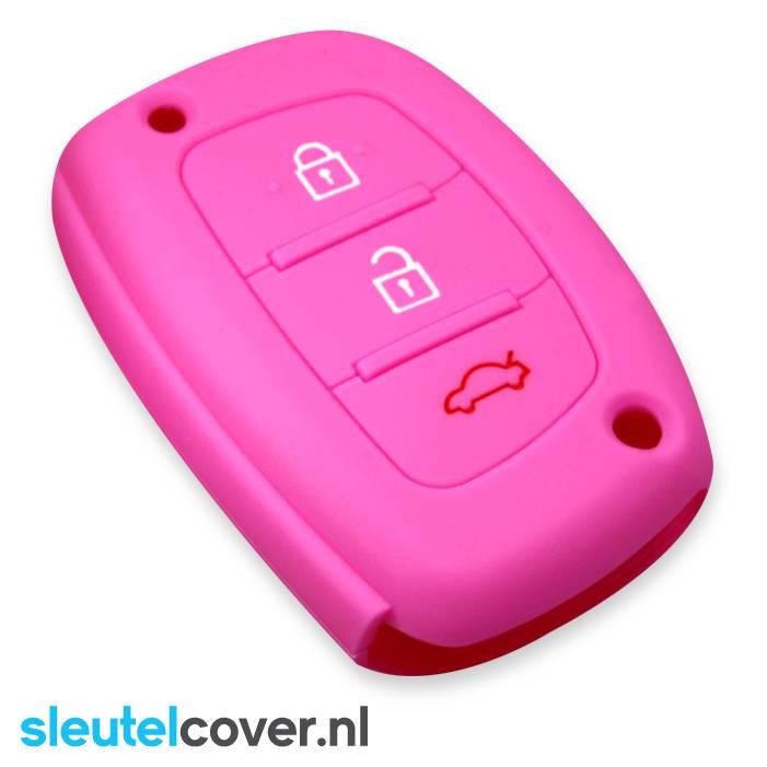 Hyundai SleutelCover - Roze / Silicone sleutelhoesje / beschermhoesje autosleutel