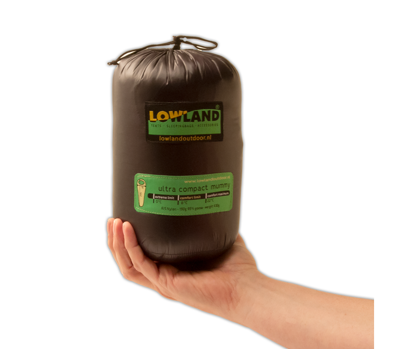 LOWLAND OUTDOOR® Ultra compact mummy - 430 gr - 215x75 cm  +8°C
