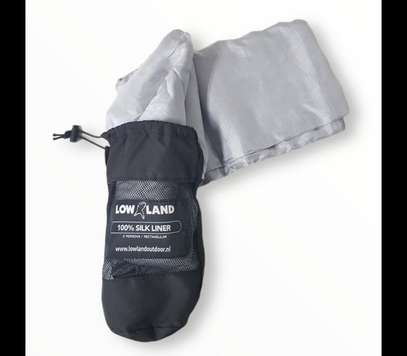 LOWLAND OUTDOOR® Hüttenschlafsack - 100% Seide - 2 pers - 220x160 cm - 255g