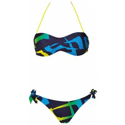Arena Scrawl Bandeau bikini Navy - geel