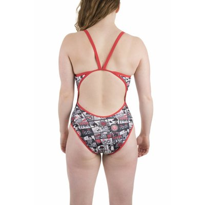 Arena W Comics Super Fly Back One Piece Lined fluo-red-black