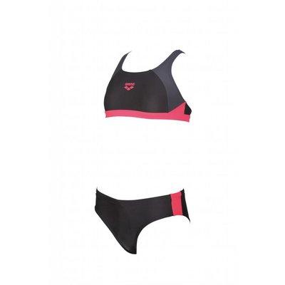 Arena Meiden Ren Sportieve bikini Zwart-grijs / Fluo-rood