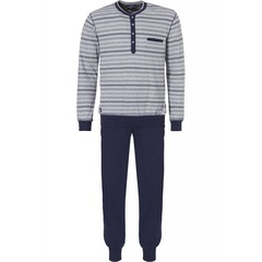 Pastunette for Men heren pyjama 'trendy mixed streep & diamant' met lange mouwen