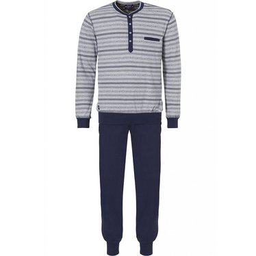 Pastunette for Men light grey and blue long sleeved trendy striped pyjama with long pants with cuffs