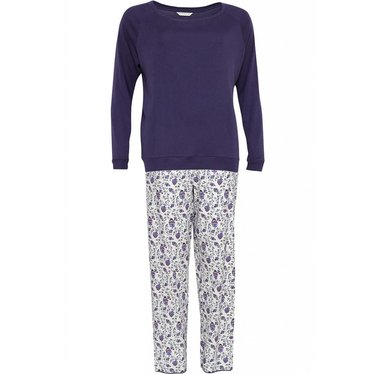 Cyberjammies pretty purple cotton-modal floral pyjama set with long sleeve knit top