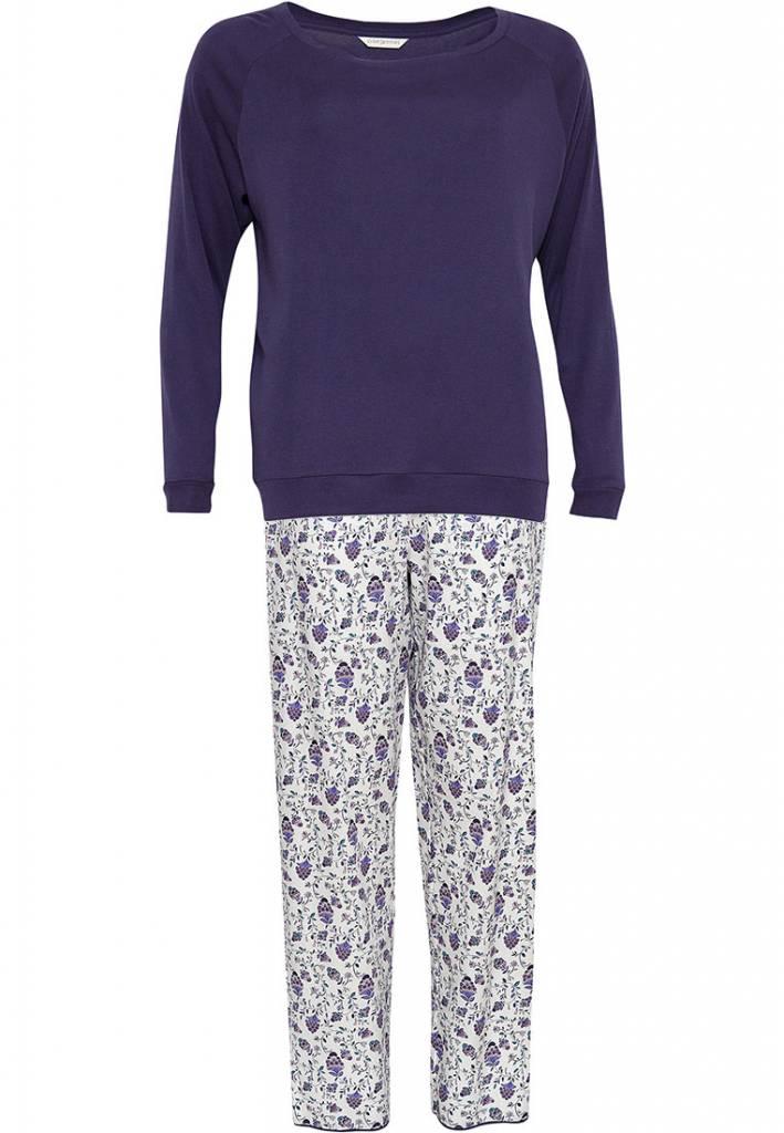 77b498da2 Cyberjammies pretty purple cotton-modal floral pyjama set with long sleeve  knit top - Pyjama-direct
