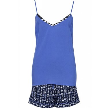 Cyberjammies blauwe geo-print katoen modal shorts met een modal spaghetti hemdje met verstelbare schouderbandjes