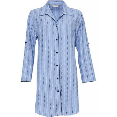 Cyberjammies blue striped cotton nightshirt with full buttons