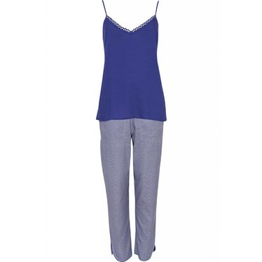 Cyberjammies purple spot print cotton - modal pants set with blue cami top with adjustable straps