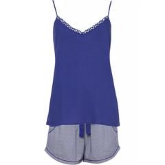 Cyberjammies Paarse print shorts met indigo blauwe spaghetti top 'Connie'