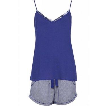 Cyberjammies Paarse stippenprint katoen-modal shorts met blauwe spaghetti top met verstelbare bandjes