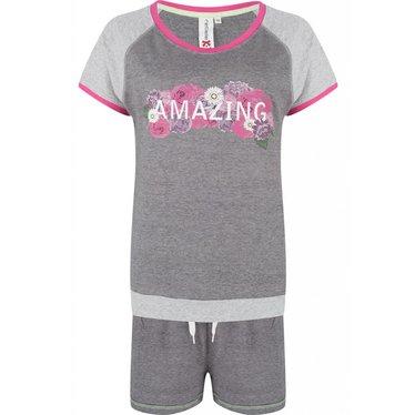 Rebelle Pretty Amazing Flowers short sleeved grey & pink shorty set