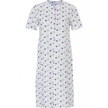 Pastunette 'uniquely floral' snow-white & blue, short sleeve 100% cotton nightdress with buttons