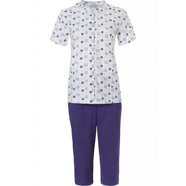 Pastunette 'uniquely floral' sneeuw-wit & blauw, 100% katoenen doorknoop pyjama met capri broek en korte mouwen